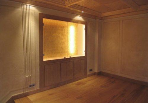vitrine fond doré