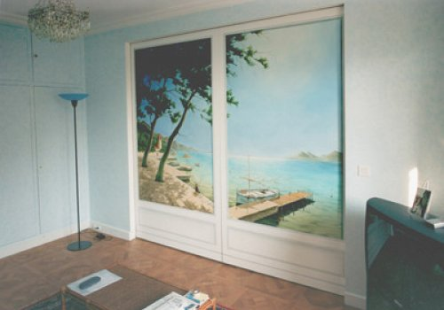 Sliding door with view on Ibiza